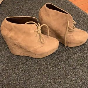 Tan Suede lace up wedge boots